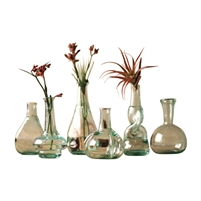 green recycled glass bud vases variety shapes