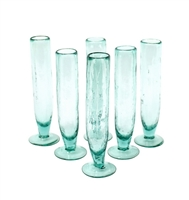 Kalalou champagne flute glass tall green bubbled recycled