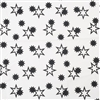 black white stars crib sheet open + closed stars