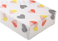 colorful hearts fitted crib sheet gray pink red yellow