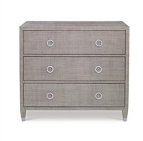 french gray three drawer bedside chest mahogany raffia