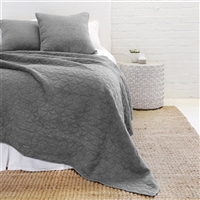 denim grey quilted petal pattern coverlet Euro sham