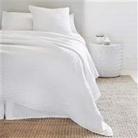 white quilted petal pattern coverlet Euro sham