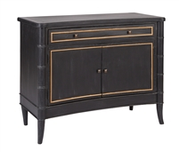 black wood gold accent two drawer chest