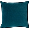 square teal cotton velvet accent pillow flange