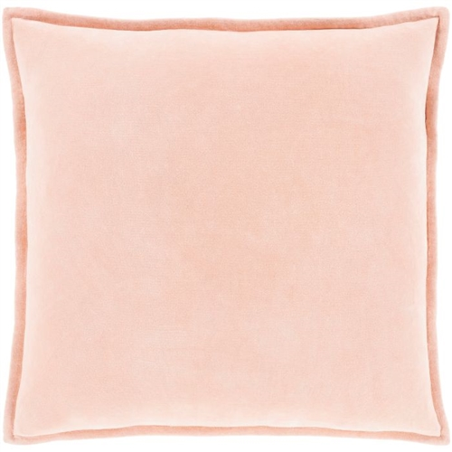 square peach cotton velvet accent pillow flange