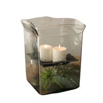 giant square candle hurricane holder glass