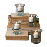 Recycled Glass Mini Votive Cylinder (set of 4) by Kalalou