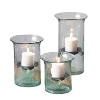 Set of Three Recycled Glass Votive Cylinders by Kalalou