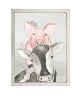 rectangle art print watercolor cow stack silver frame