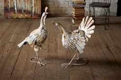 Set of 2 Antique Distressed White Metal Turkeys