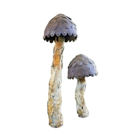 Set of 2 Metal Mushrooms