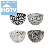 black white various patterns gold rims bowls round
