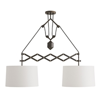 dual pendant light white linen aged bronze