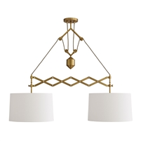 dual pendant light white linen antique brass