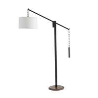 white linen steel wood aged bronze floor lamp