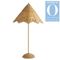 rattan table lamp scalloped edge natural organic