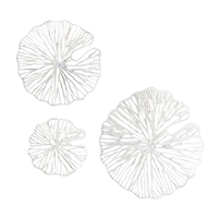 set 3 white paper metal art wall sculptures