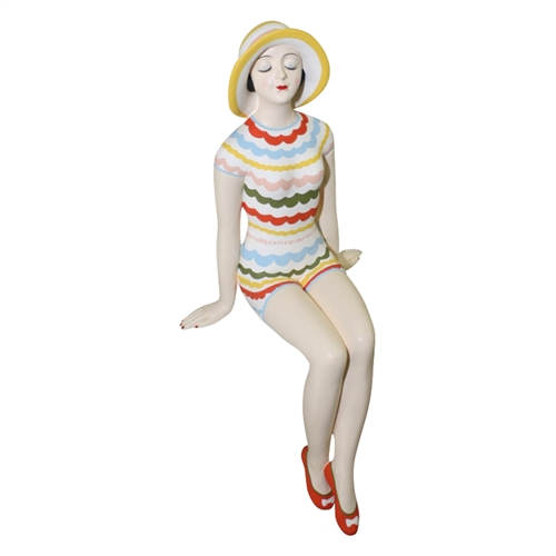 Decorative Bather Figurine - Yellow and Multi Scalloped Striped Suit/ Sun Hat