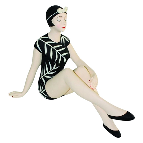 Decorative Bather Figurine - Black Suite with Cream Bamboo and Swimming Cap