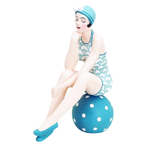 Decorative Bather Figurine - Black and White Suit on Dotted Ball
