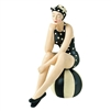 Decorative Bather Figurine - Black and White Polka Dot Suit on Striped Ball