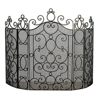 fireplace screen three panel antiqued brass black mesh scrolls ornate