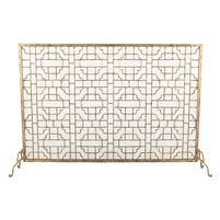 fire screen geometric design gold mesh single panel Dr. Livingstone I Presume