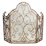 fireplace screen burnished antiqued gold iron scroll mesh three panel arch