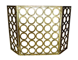 fireplace screen iron gold circles geometric three panel contemporary modern
