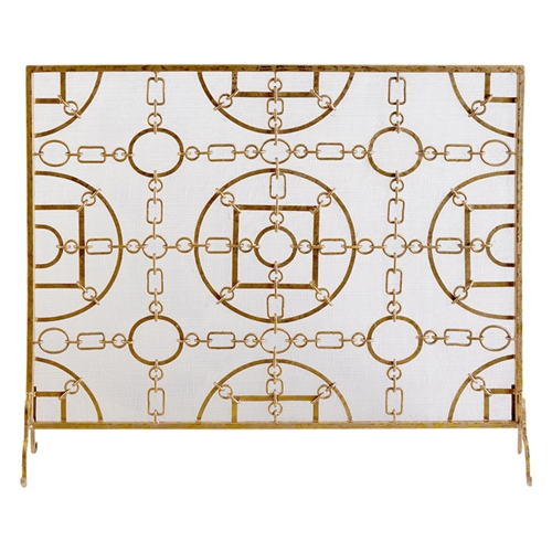 fireplace screen gold mottled iron links equestrian circles geometric stand single panel