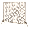 fire screen quadrille design gold mesh single panel Dr. Livingstone I Presume