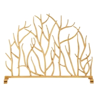 gold iron twig fire screen single panel