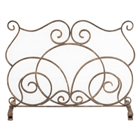 fireplace screen gold single panel scroll stand