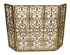 gold three panel design fire screen w/ mesh
