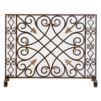 fire screen dark burnished gold accents mesh