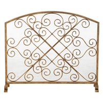 fire screen x scroll gold arched mesh