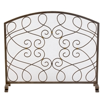 fire screen arched dark gold mesh loop