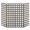 fireplace screen black iron brass buttons nail heads three panel squares