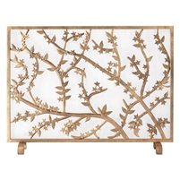 antique gold cherry blossom fire screen single panel