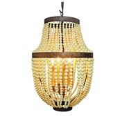 Creme Bead and Iron Four Light Chandelier by Dr. Livingstone I Presume