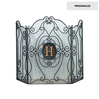 fireplace screen black iron scroll three panel monogram initial brass arch traditional burnished gold