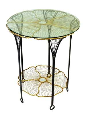 Brown and Italian Gold Iron Pansy Table by Dr. Livingstone