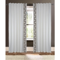 ivory linen/cotton gray embroidered trim detail curtain drapery panels