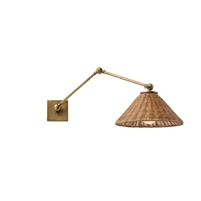 wicker shade wall sconce antique brass arm adjustable