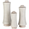 Surya Set of 3 Doshi Vases - Beige Textured Contemporary Vases