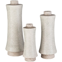 textured vases set of 3 beige Contemporary