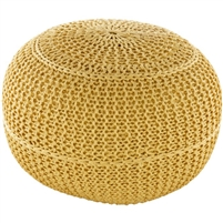 yellow knitted braided round floor pouf