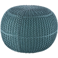 aqua knitted braided round floor pouf