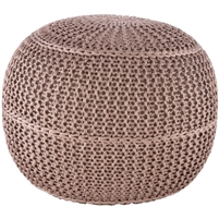 taupe knitted braided round floor pouf